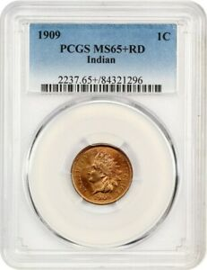 1909 INDIAN 1C PCGS MS65  RD   INDIAN CENT   GEM TYPE COIN