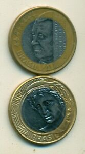 2 DIFFERENT BI METAL 1 REAL COINS FROM BRAZIL DATING 2002 & 2008  2 TYPES