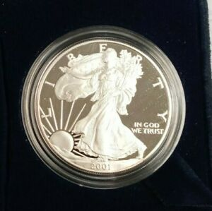 2001 W PROOF SILVER EAGLE AMERICAN DOLLAR  $1 COIN .999 FINE  BOX / COA K190