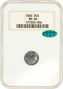 1863 3CS NGC/CAC MS66  OGH  OLD GREEN LABEL NGC HOLDER   3 CENT SILVER