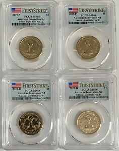 Click now to see the BUY IT NOW Price! PCGS MS66 2019 P&D NJ EDISON LIGHT BULB INNOVATION DOLLAR $1 4 COIN SET POS A&B