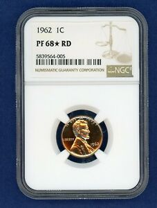 1962 NGC PF68  RD LINCOLN CENT 1C PENNY US MINT 1962 P NGC PF 68  RD STAR