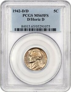 Click now to see the BUY IT NOW Price! 1942 D/HORIZ D 5C PCGS MS65 FS    VARIETY   JEFFERSON NICKEL