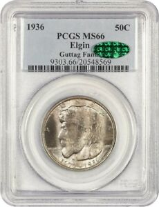 1936 ELGIN 50C PCGS/CAC MS66   SILVER CLASSIC COMMEMORATIVE