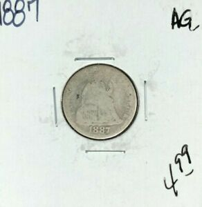 1887 SEATED LIBERTY SILVER DIME   AG  NICE COIN
