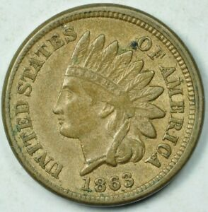 1863 1C INDIAN HEAD CENT EXTRA FINE XF ROTATED DIE 90 DEGREES