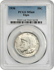 1936 ELGIN 50C PCGS MS64   SILVER CLASSIC COMMEMORATIVE