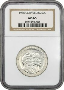 1936 GETTYSBURG 50C NGC MS65   SILVER CLASSIC COMMEMORATIVE