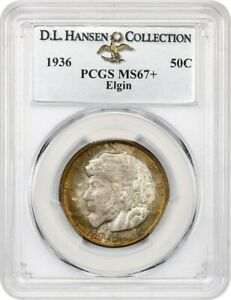 Click now to see the BUY IT NOW Price! 1936 ELGIN 50C PCGS MS67  EX: D.L. HANSEN   SILVER CLASSIC COMMEMORATIVE