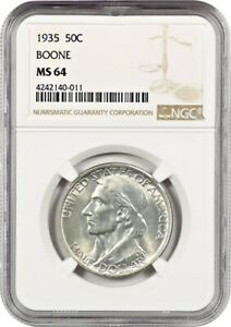 1935 BOONE 50C NGC MS64   LOW MINTAGE ISSUE   SILVER CLASSIC COMMEMORATIVE