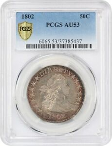 Click now to see the BUY IT NOW Price! 1802 50C PCGS AU53   BEAUTIFUL TONING   BUST HALF DOLLAR   BEAUTIFUL TONING