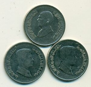 3 DIFFERENT 5 PIASTRES COINS FROM JORDAN  1998 2006 & 2008