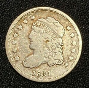 1837/7 CAPPED BUST HALF DIME 5 C. CENT 7 OVER 7 OVER STAMP DATE ERROR SEE PIC