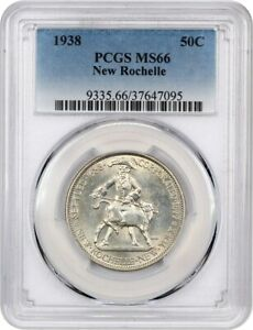 1938 NEW ROCHELLE 50C PCGS MS66   LOOKS PROOFLIKE   SILVER CLASSIC COMMEMORATIVE