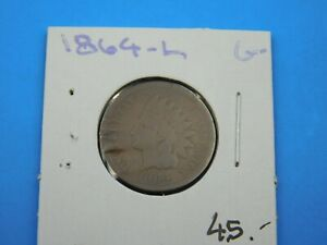 1864 L INDIAN HEAD PENNY 1C COPPER PHILADELPHIA MINT CENT GOOD  C1/206