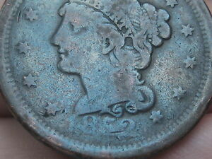 1852 BRAIDED HAIR LARGE CENT PENNY  BLUE TONED VG DETAILS