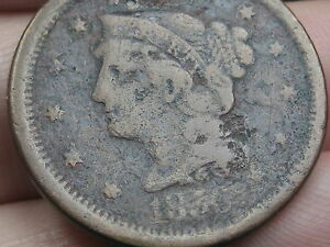 1856 BRAIDED HAIR LARGE CENT PENNY SLANTED 5