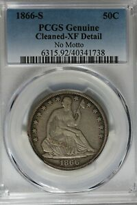 1866 S 50C PCGS  GENUINE CLEANED   XF DETAIL NO MOTTO SEATED LIBERTY HALF DOLLAR