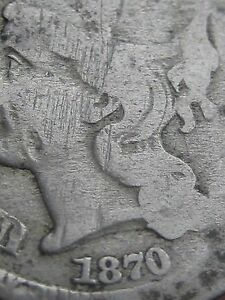1870 THREE 3 CENT NICKEL  LOW MINTAGE DATE SLIGHTLY ELONGATED