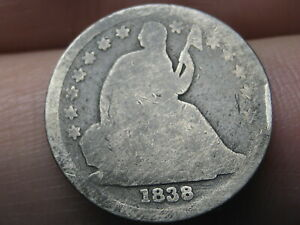 1838 SEATED LIBERTY SILVER DIME  LARGE STARS