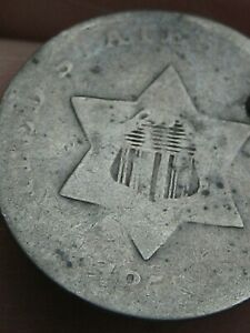 1852 THREE 3 CENT SILVER TRIME  OLD TYPE COIN