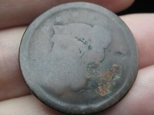 1843 1857 BRAIDED HAIR LARGE CENT PENNY  LOWBALL FILLER HEAVILY WORN