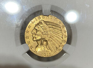 1911 S NGC AU55 $5 GOLD INDIAN GREAT EYE APPEAL