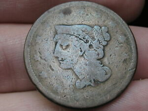 1839 1843 BRAIDED HAIR LARGE CENT PENNY PETITE HEAD