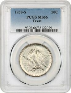 1938 S TEXAS 50C PCGS MS66   LOW MINTAGE ISSUE   SILVER CLASSIC COMMEMORATIVE