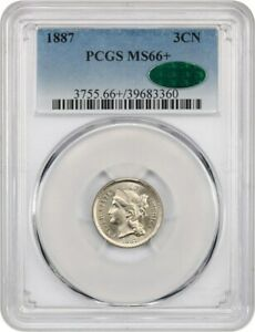 Click now to see the BUY IT NOW Price! 1887 3CN PCGS/CAC MS66  ONLY ONE FINER   3 CENT NICKEL   ONLY ONE FINER