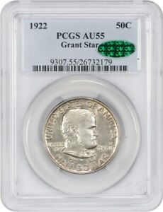 1922 GRANT WITH STAR 50C PCGS/CAC AU55   FROSTY    SILVER CLASSIC COMMEMORATIVE