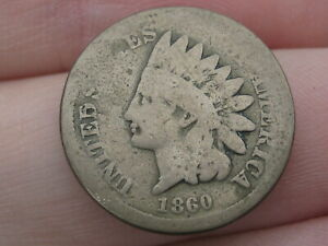 1860 COPPER NICKEL INDIAN HEAD CENT PENNY  ROUNDED BUST GOOD/VG DETAILS