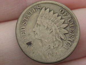 1860 COPPER NICKEL INDIAN HEAD CENT PENNY  ROUNDED BUST