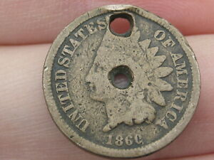 1860 COPPER NICKEL INDIAN HEAD CENT PENNY  ROUNDED BUST HOLED TWICE