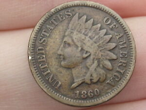 1860 COPPER NICKEL INDIAN HEAD CENT PENNY  POINTED BUST FINE/VF DETAILS