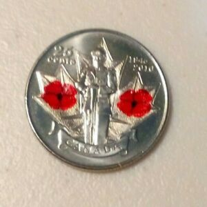 1945 2010 25 CENT CANADIAN COIN  FULL COLOR UNCIRCULATED FROM MINT