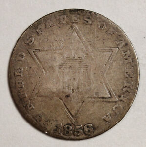 1856 3 CENT SILVER.  NATURAL VG.  152652