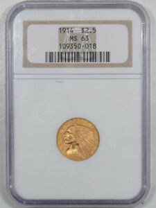 1914 $2.50 INDIAN HEAD GOLD   PCGS MS 63