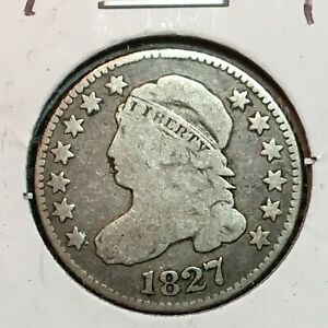 1827   FINE   CAPPED BUST DIME  NICE COIN  1
