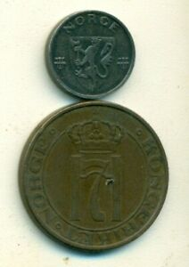 2 OLDER COINS FROM NORWAY   1 & 5 ORE  BOTH DATING 1941