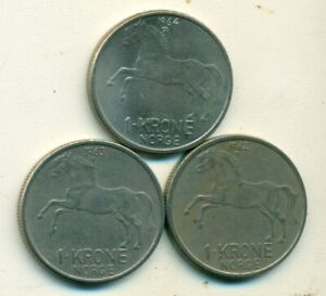 3 DIFFERENT 1 KRONE COINS W/ HORSE FROM NORWAY  1962 1963 & 1964