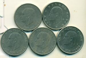 5 DIFFERENT 5 KRONER COINS FROM NORWAY  1963 1968 1969 1972 & 1975