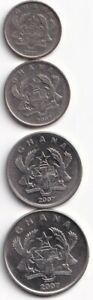 4 DIFFERENT COINS FROM GHANA   5 10 20 & 50 PESEWAS  ALL DATING 2007