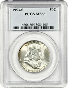 1953 S 50C PCGS MS66   FRANKLIN HALF DOLLAR