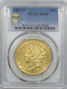 Click now to see the BUY IT NOW Price! 1861 O $20 LIBERTY GOLD DOUBLE EAGLE PCGS AU 55  CIVIL WAR NEW ORLEANS ISSUE