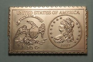 1807 50 CENTS LIBERTY CAPPED BUST HALF 1/2 DOLLAR NUMISTAMP MEDAL MORT REED 1975