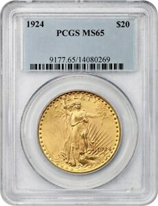 1924 $20 PCGS MS65   SAINT GAUDENS DOUBLE EAGLE   GOLD COIN   GEM TYPE COIN