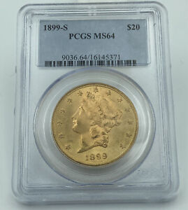 1899 S PCGS MS64 $20 GOLD LIBERTY DOUBLE EAGLE LUSTROUS EYE APPEALING COIN