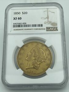 1850 NGC XF40 $20 GOLD LIBERTY DOUBLE EAGLE EYE APPEALING COIN