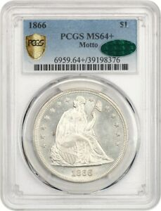 1866 $1 PCGS/CAC MS64   MOTTO  GORGEOUS    LIBERTY SEATED DOLLAR   GORGEOUS
